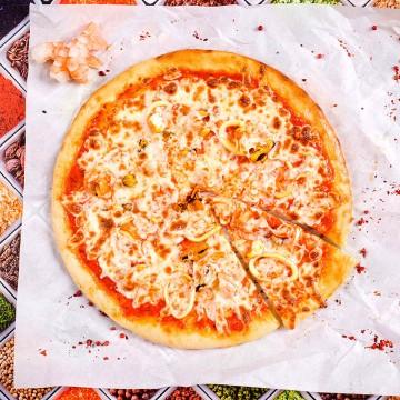 Пицца с морепродуктами / Филадельфия с свежим лососем и красной икрой  ( 600 гр.)
